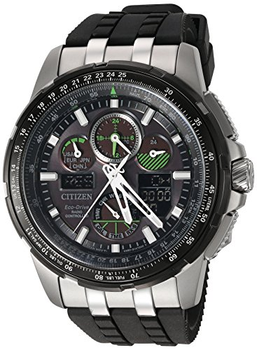Citizen Men's Eco-Drive Stainless Steel Japanese-Quartz Aviator Watch with Polyurethane Strap, Black, 23 (Model: JY8051-08E)