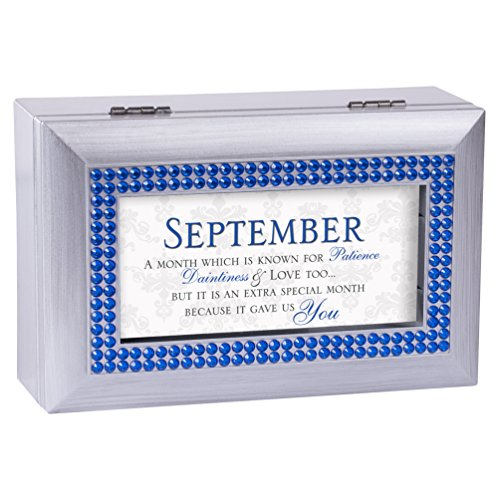 Cottage Garden September Patience Special You Birthstone Silver Petite Jewelry Music Box Plays Tune We Have a Friend in Jesus -