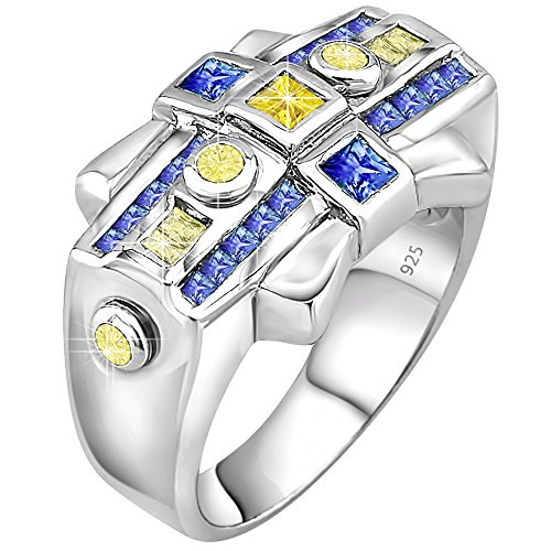 Mens Sterling Silver  925 Designer Ring Cubic Zirconia  Cz  Stones  Platinum Plated Jewelry