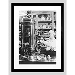 PHOTO BLACK WHITE ITALIAN AMERICAN CAFE ESPRESSO SHOP FRAMED ART PRINT B12X7586
