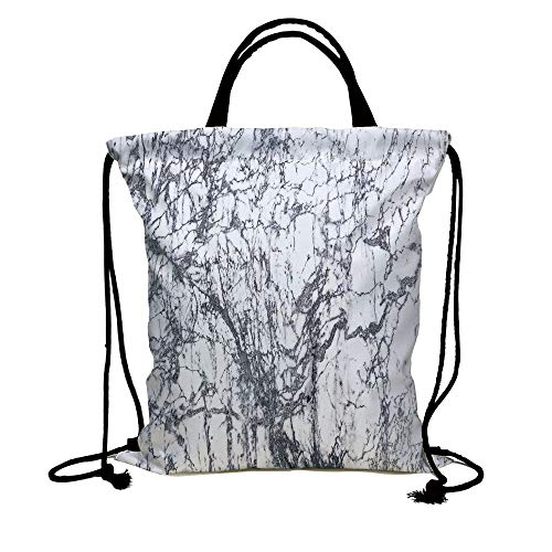3D Print Drawstring Bag String Backpack,Apartment Decor,Murky Marble Rock Motifs with Dynamic Fractal Figures Abstract Artsy Print,Grey White,for Travel Gym School Beach -