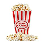 "[Novelty Place] Plastic Red & White Striped Classic Popcorn Containers for Movie Night - 7.8"" Tall x 3.8"" Square (8 Pack)"