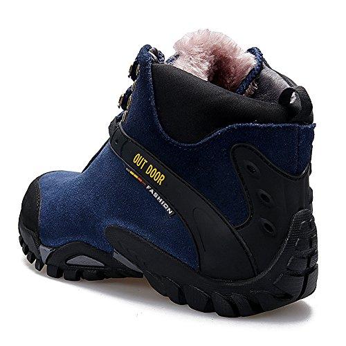 Gomnear Wanderstiefel Warm Männer Frauen Trekking Schuhe Wildleder Hoher Aufstieg Nicht rutschen Draussen Turnschuhe M Blau