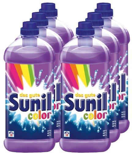 6er Vorteilspack Sunil Color Waschmittel 7800 ml für 108 Anwendungen