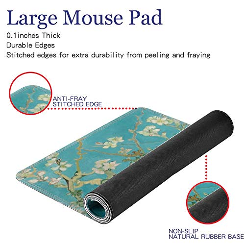 """Hunthawk Large Desk Mat, Apricot Blossom Tree Mouse Pad, Desktop Home Office School Cute Decor Big Extended Pretty Desk Pad for Gaming Laptop Computer Accessories 35.4""""x15.7""""x0.1"""""""