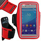 DURAGADGET Exclusive Unisex Sports Armband in Red - Running, Cycling & Gym Smartphone Case - Compatible NEW Sony Xperia Z3+