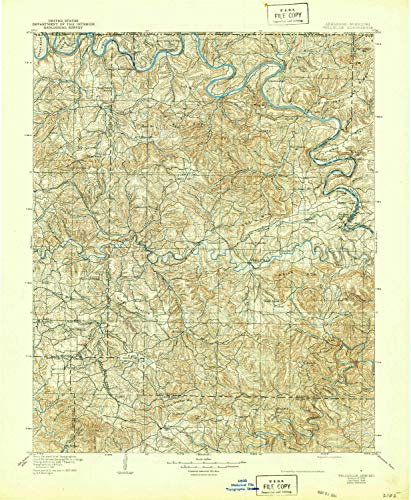 Yellville AR topo map, 1:125000 Scale, 30 X 30 Minute, Historical, 1905, Updated 1944, 20.8 x 17.1 in - Tyvek