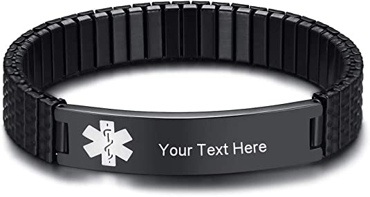 MA098 Black /& White Gold Medical ID Alert Replacement Bracelet!