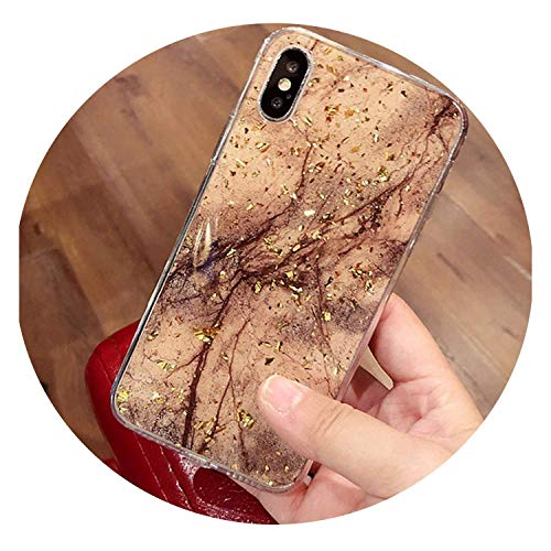 Bling Marble Phone Cases for iPhone X 10 Cover Soft TPU for iPhone XR XS MAX 7 8 6 6s Plus Glitter Case,Black,for IP XS 5.8 inch,Brown,ForiPhone7 -