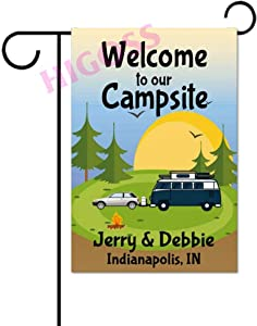 Higoss Custom Camping Flag, Personalized Garden Or House Flag, Welcome to Our Campsite, Travel Trailer, 12