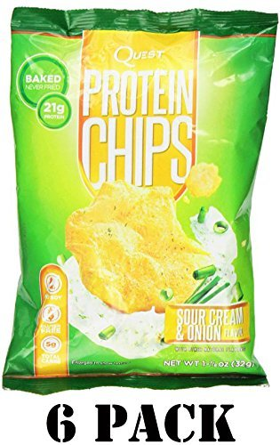 Protein Chips - Sour Cream & Onion 1.125 Oz (32 Grams) Bags (6 Pack)