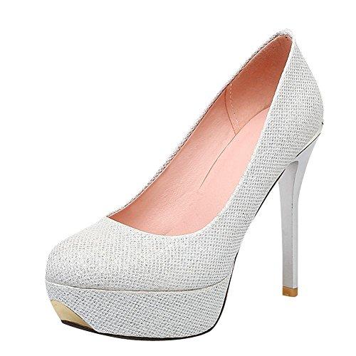 MissSaSa Damen elegant high heel Plateau runde Spitze Pumps Silber