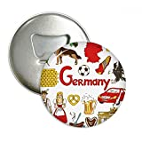 Germany Landscap Animals National Flag Round Bottle Opener Refrigerator Magnet Pins Badge Button Gift 3pcs
