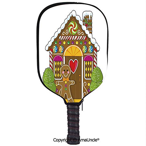 SCOXIXI 3D Pickleball Paddle Racket Cover Case,Cute Gingerbread House Decorated with Colorful Candies Man Graphic FigureCustomized Racket Cover with Multi-Colored,Sports Accessories]()