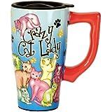 Spoontiques Crazy Cat Lady Travel Mug, 14 ounces, Multi Colored