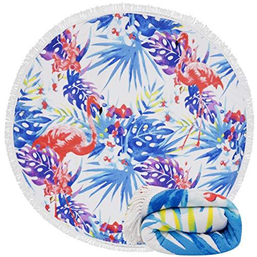 Genovega Thick Round Beach Towel Blanket - Flamingo Hawaii Hawaiian Tropical Circular Microfiber Terry Beach Roundie Circle Yoga Mat with Fringe