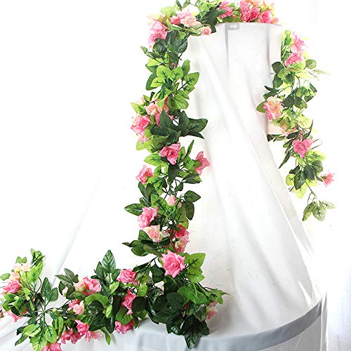 HEJIAYI 96 Inch Rose Vine Silk Flower Garland Artificial Flowers Plants Leaf Vine For Home Wedding Decoration Pack Of 3(Pink)