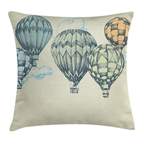 Ambesonne Vintage Decor Throw Pillow Cushion Cover, Hot Air Balloons in Soft Tone Fly in Sky Lighter Than Air High Tourism Artful, Decorative Square Accent Pillow Case, 16 X 16 - Air Pillow Hot Balloon