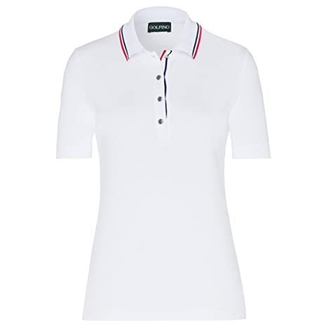 GOLFINO Cotton Stretch Short Sleeve Polo Mujer Blanco, Color Optic ...