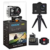 [New Version] EKEN H9R Action Camera 4K Wifi Full HD 4K 25fps 2.7K 30fps 1080P 60fps 720P 120fps Waterproof SportsCamera 12MP Photo and 170 Wide Angle Lens includes 11 Mountings Kit 2 Batteries Black