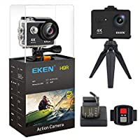 (New Version) EKEN H9R Action Camera 4K WiFi Full HD 4K 25fps 2.7K 30fps 1080P 60fps 720P 120fps Waterproof SportsCamera 12MP Photo and 170 Wide Angle Lens Includes 11 Mountings Kit 2 Batteries Black