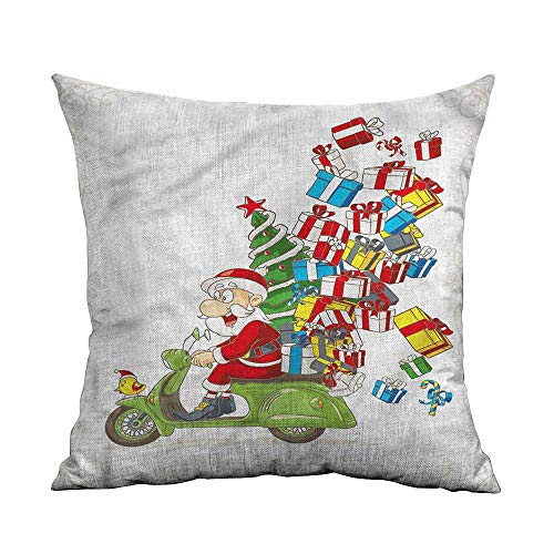 ArrDecor Decorative Square Accent Pillow Case,Christmas,Santa on Motorbike,Throw Pillow Cases for Couch,W 18