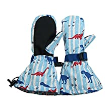 Waterproof Stay-on Mittens for Baby Toddler Kids ( M: 4-6Y,Dino )