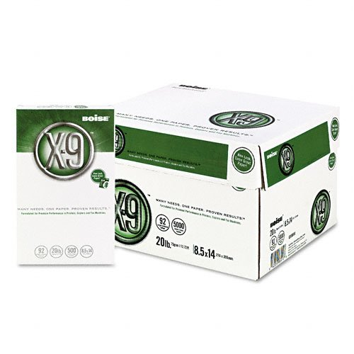 Boise : X-9 Copy/Laser Paper, 92 Brightness, 20lb, Legal, White, 5,000 Sheets -:- Sold as 2 Packs of - 10 - / - Total of 20 Each by Boise