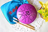 WuYou ॐ Symbol Chakra Drum Mini Tongue Drum Tank Handpan UFO series, Great for Meolodies Theropy (Purple)