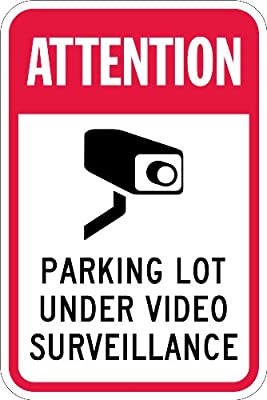 "SmartSign Security Sign, Legend ""Attention-Parking Lot Under Video Surveillance"", Black/Red on White"