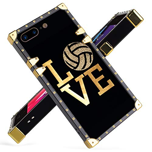 iPhone 7 Plus, iPhone 8 Plus Case Luxury Love Volleyball Game Gold Bling Square Soft TPU Wrapped Edges and Hard PC Back Stylish Classic Retro Case 5.5 inch (Best Volleyball Pc Game)