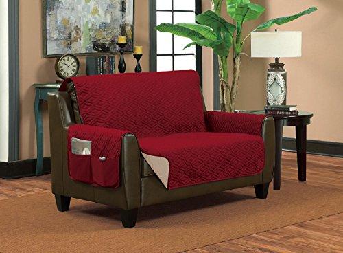 Classic Reversible Quilted Waterproof Furniture Proctor Diamond Design (Sofa, Burgundy/Sand) - Sand Microfiber Sofa