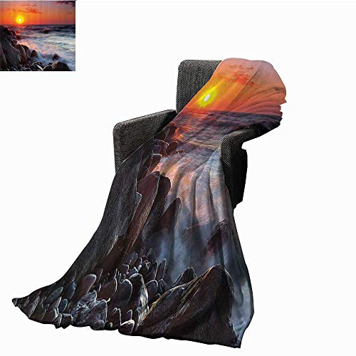 smllmoonDecor Scenery House Decor Reversible Blanket Pebble Beach with Waves Horizon on Summer Dawn Sun Down Landscape Anti-Static Throw 71