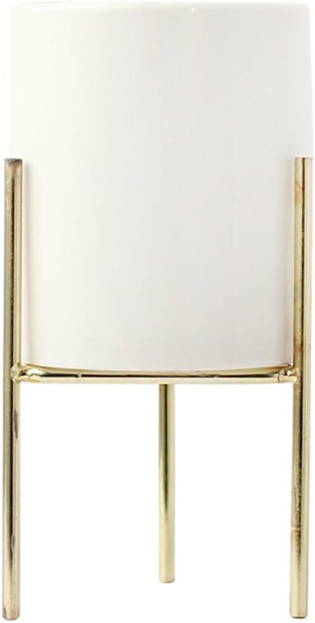 L, Gold Haihuic 16.5 cm Macetas de Interior Titular Moderno de la Planta de jard/ín Jardinera de cer/ámica Blanca con Soporte de Metal para Cactus de Plantas suculentas