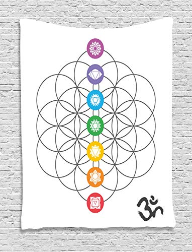 Ambesonne Sacred Geometry Tapestry, Chakra Points in Vintage Concentric Rings of Partial Circle Zen Theme Image, Wall Hanging for Bedroom Living Room Dorm, 40 W X 60 L Inches, Multicolor