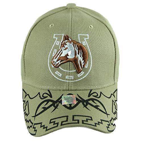 90210 Wholesale Baseball Cap Horse Horseshoe Caps Adjustable Plain Hats Fashion Hats (Khaki)