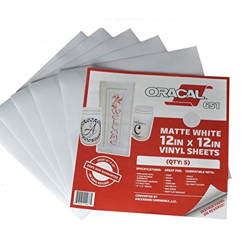 [해외](5), (10) 또는 (25) 12 × 12 장 - Oracal 651 화이트 매트 접착제 크래프트 비닐 Cricut 들면, 실루엣 카메오 크래프트 커터, 프린터 및 데칼 -/(5), (10), or (25) 12