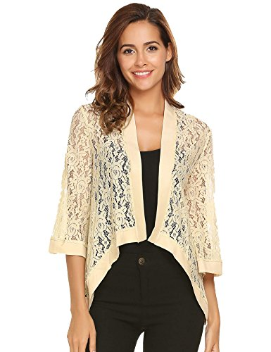 e52de0427a7876 Zeagoo Women s High Low Floral Lace Top 3 4 Sleeve Sheer Cardigan Plus Size  Cover Up Jacket (Light Yellow L)