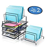 Desk Organizer Tray Stackable Metal mesh Organizer 2018 Upgraded Sturdy Desktop Organizer with 3-Tier Sliding Letter File Tray Organizer and 5 Upright Sections Stacking Sorter Section(Black)