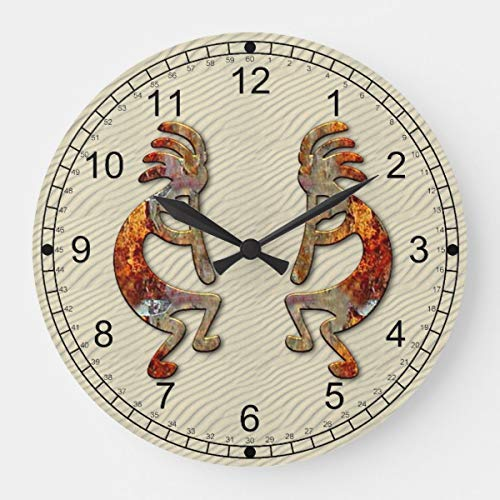 OSWALDO Kokopelli Southwestern Decorative Round Wooden Wall Clock - 12 inch Design ()