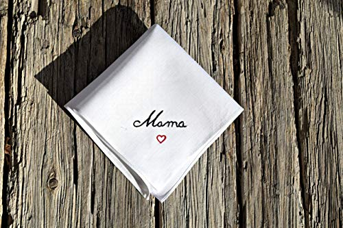 Linen Handkerchief with Embroidered Name and Heart ()