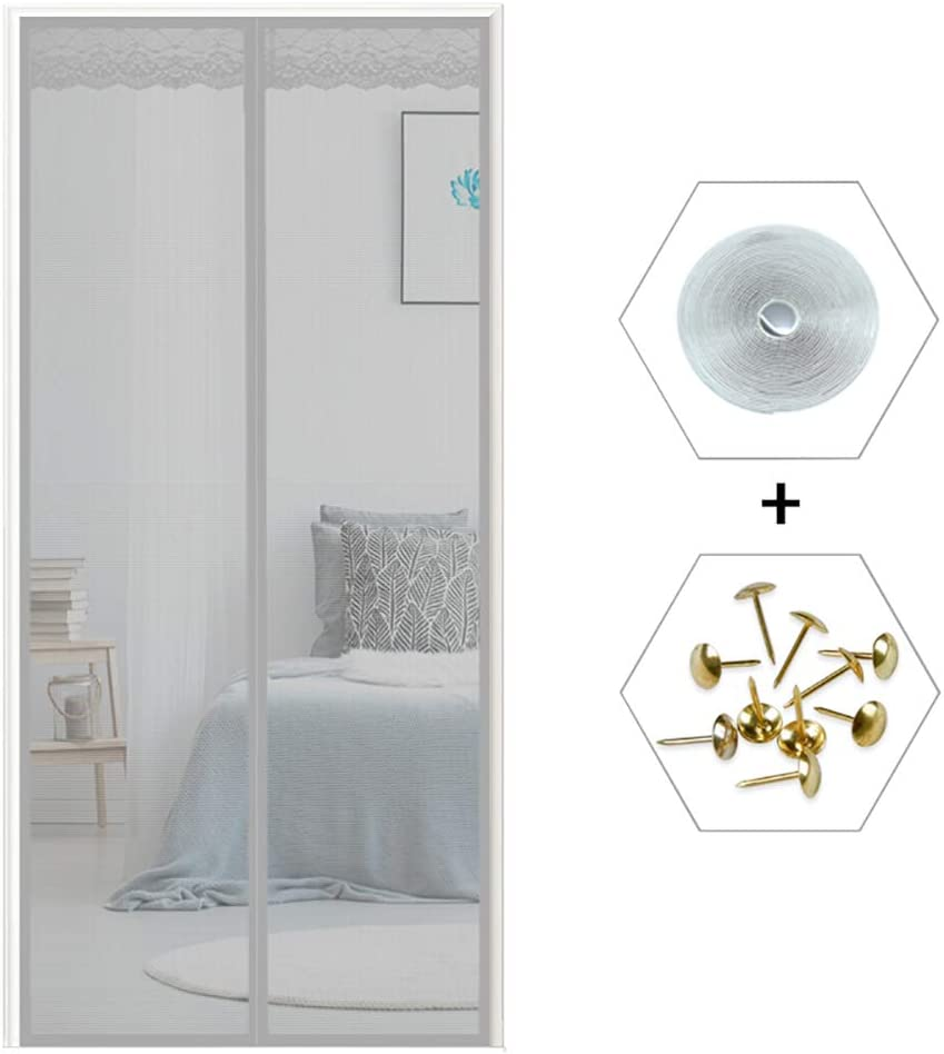 33x79inch Self Closing Retractable Screen Door,Anti Mosquito Bugs Pet Friendly,Magnetic Screen Door With Full Frame Velcro Q 85x200cm