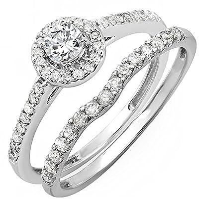 0.75 Carat (ctw) 14K Gold Round Diamond Ladies Bridal Halo Engagement Ring With Matching Band Set 3/4 CT