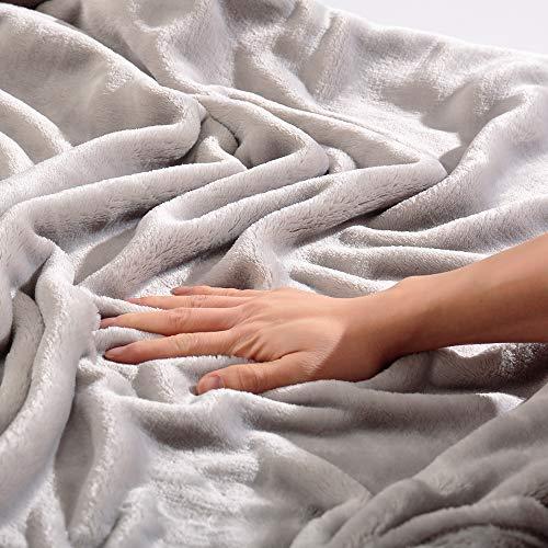 Panku Flannel Blanket Super Soft Flannel Blanket Comfort Cozy Summer Throw Blanket Lightweight Blanket-Silvery Grey…