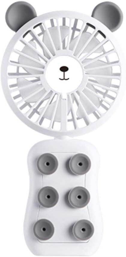 qianqian Mini Ventilador Eléctrico Silencioso Ventilador Portátil de Mano con 7 Cuchillas, 3 Velocidades, Carga USB, Utilizar como Soporte de Teléfono Móvil y luz Nocturna,Whitebear