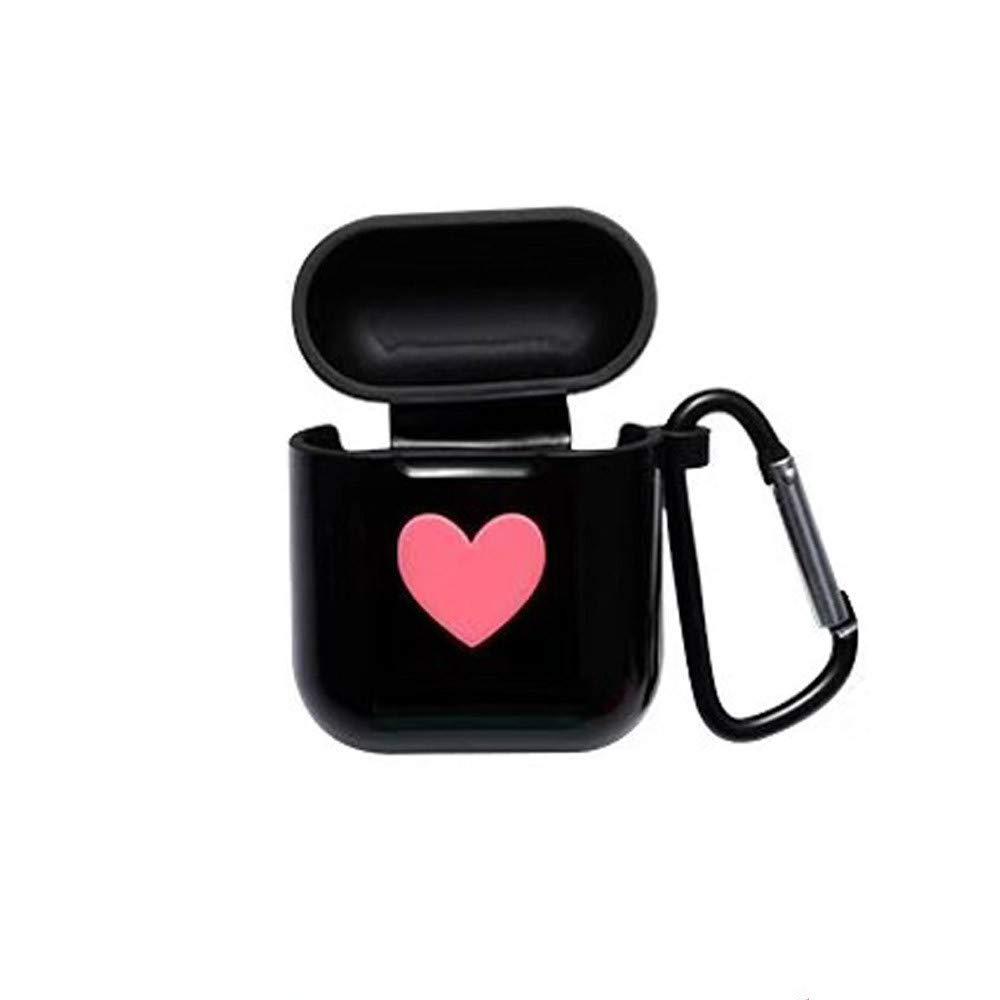 Sikye Premium Silicone Case Full Protective Cover Skin for Airpods Case - Anti-Lost Carabiner, Heart Design,Velantine's Gift for Her (Black)