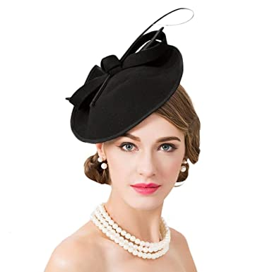 5132ba74d6264 Elegant Formal Wool Church Hat Felt Fedoras Wedding Pillbox Hats Female  Fascinators at Amazon Women s Clothing store