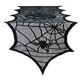 "DII 18x72"" Polyester Lace Table Runner, Black Happy Halloween - Perfect for Halloween, Dinner Parties and Scary Movie Nights"