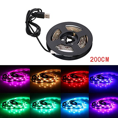 niceEshop(TM) Bias Lighting for HDTV 2m/6.5ft USB LED Strip Multicolor RGB...