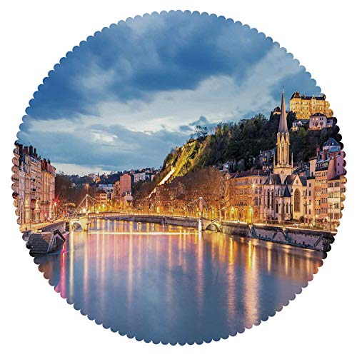 Round Tablecloth [ European,View of Saone River in Lyon City at Evening France Blue Hour Historic Buildings,Multicolor ] Decorative Ideas -